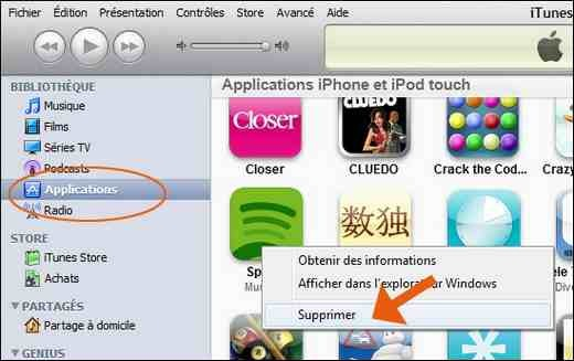 Supprimer les applications iPhone iTunes
