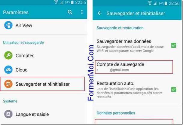 sauvegarde téléphone Android par défaut