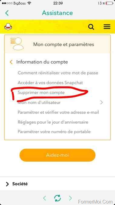 supprimer compte snapchat