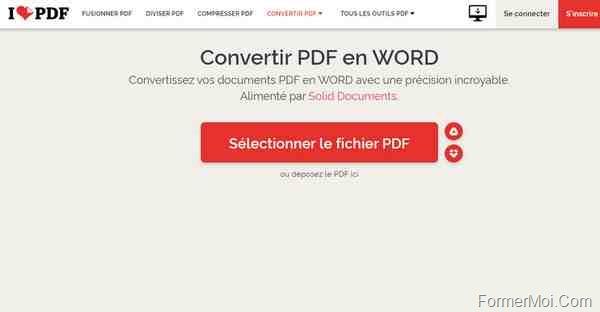 ilove pdf : convertir PDF en WORD